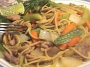 Stir Fried Thin Noodle Pork And Vegetables