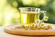 Camomile tea for health.