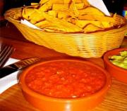 Sweet Red Pepper Dip with Polenta Chips