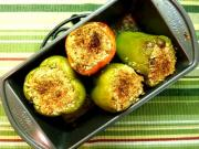 Parmesan & Rice Stuffed Green Peppers
