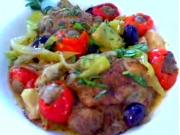 Mediterranean-Style Braised Chicken Topped with Sausage Stuffed Cherry Peppers