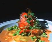 Spiced Roasted Lobster with Pea Ravioli : Tom Colicchio and Gail Simmons