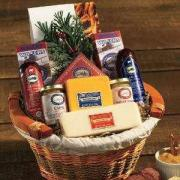 A well organized salami and cheese basket