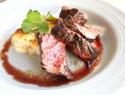Delicious Broiled Hangar Steak with Blue Cheese Layered Potato Cake