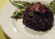 Black rice cooked with mushroom
