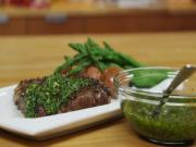 Black Pepper Crusted Steak with Chimichurri Sauce