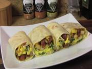 Potato, Egg and Smoked Sausage Breakfast Burrito