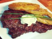 Herb Rubbed Sirloin with Lemon Butter and Guinness Battered Onion Rings