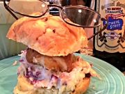 Beer Battered Halibut Sandwich with Coleslaw