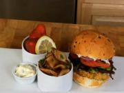 Crabcake Burger with Horseradish and Fries