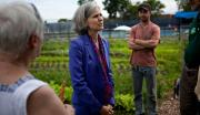 Dr. Jill Stein talking to supporters at an organic farm.