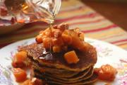 Cornmeal Pancakes with Warm Persimmon Sauce