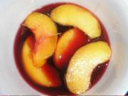 Snow Peaches with Raspberry Sauce