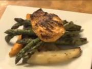 Herb Crusted Salmon with Roasted Potatoes and Grilled Asparagus