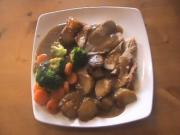 Roast Pork with Potatoes Carrots and Broccoli