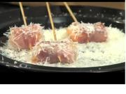 Prosciutto Melons in Parmesan Snow and Grill-encrusted Pork Tenderloin