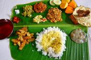 A typical spread of Indian food served on a banana plantain