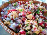 Ceviche is a sea food Mexican dish which is served with a seasoning of pepper and onions