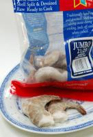 A bag of frozen shrimp
