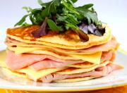 Baked Pancake with Cheese and Ham