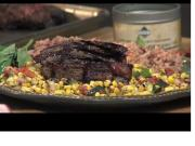 A Perfect Steak over Italian Corn Salsa