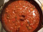 Bacon, Ground Beef, and Bean Chili waiting to be paired with a delectable red wine.