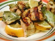 Grilled Swordfish Kebabs With Orange-Mint  Marinade