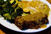 Nut Loaf with gravy is a great vegan option