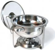 A chafing dish is used to cook and keep food warm.