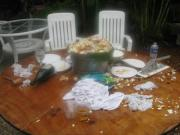 Messy table after eating crabs