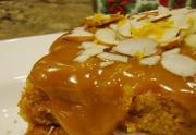 Pumpkin Gateau with Caramel and Brandy Sauce