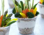 Vegetable Garden Cups with Ranch Dip