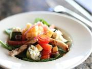 Charred Zucchini Croutons and Grilled Chicken Salad with Mixed Melon Salsa