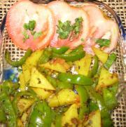 Achari shimla mirchi aloo by Chef Sonali