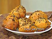 Ratalu Puri - Bhajiya or Pakora - Purple Yam Fritters