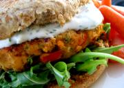 Salmon Burgers with Non Fat Dill Cream