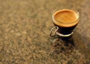 Make a cup of hot coffee with coffee essence
