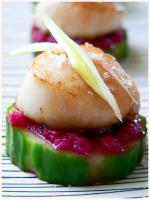 Colors!!Scallop Horseradish Finger Food on a simple white plate