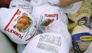 Bags of frozen turkey