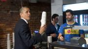 Obama buys a hoagie for himself and sandwiches for others
