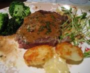 Steak Diane and Caesar Salad With Banana Foster