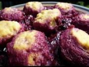 Ricotta Cheesecake and Ricotta Dumplings in Plum Blueberry Sauce