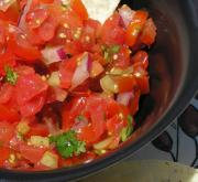 Tomato based salsa dip can be eaten with fried dishes