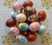 Homemade chocolate eggs painted and decorated