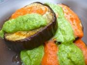 Eggplants with Pesto and Fresh Salsa
