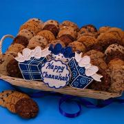 Kosher food baskets with Hanukkah cookies add a nice twist to regular Hanukkah food gifts