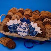 Kosher food baskets with Hanukkah cookies add a nice twist to regular Hanukkah food gifts