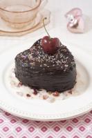 Sour Cream Chocolate Cake with Cherry Vanilla Yogurt Sauce