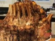 Herb Rubbed Pork Crown with Wild Mushroom and Sausage Stuffing