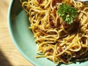 Spaghetti with Anchovies and Mushrooms